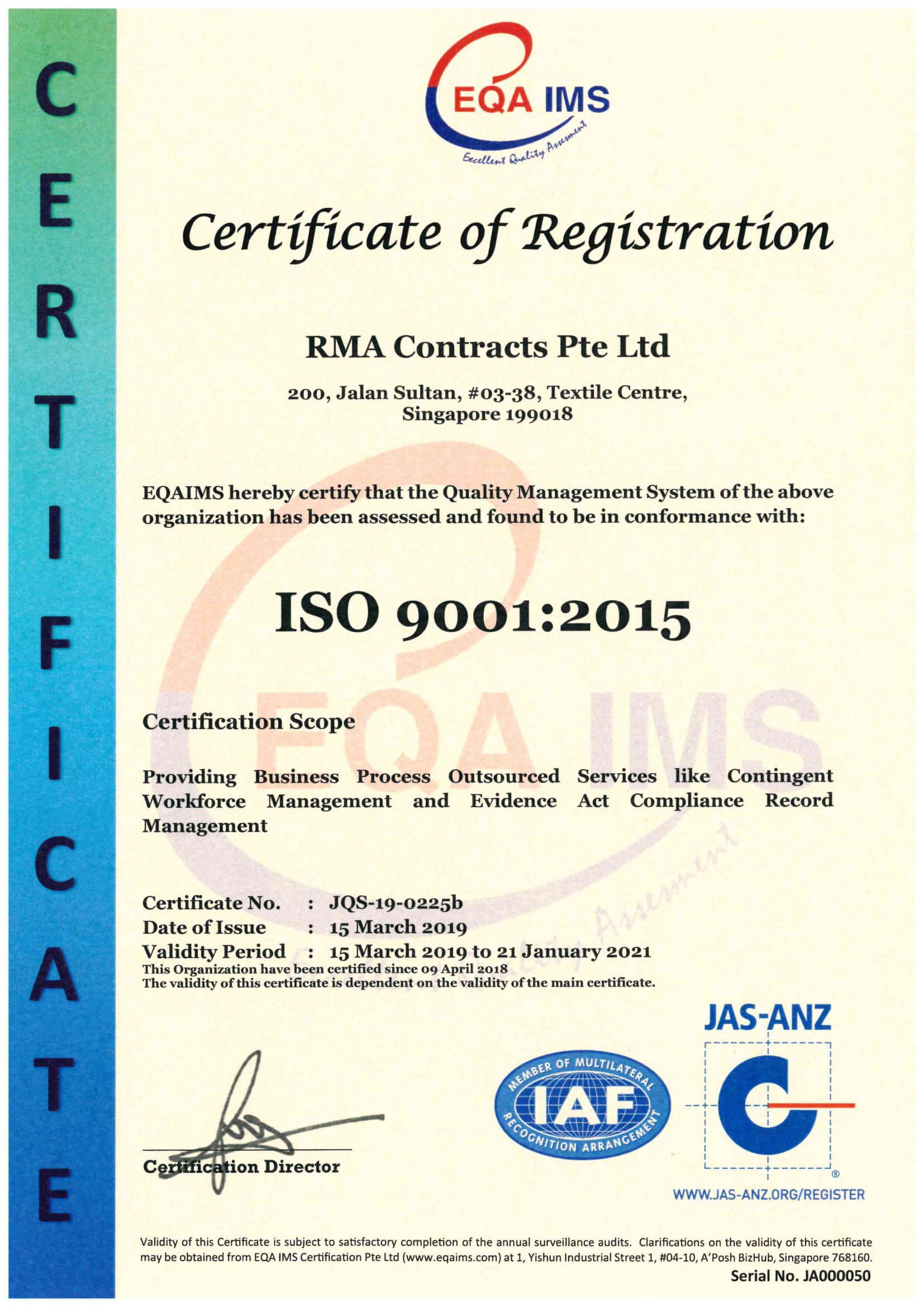 ISO 9001:2015 Certificate for Quality Management System.