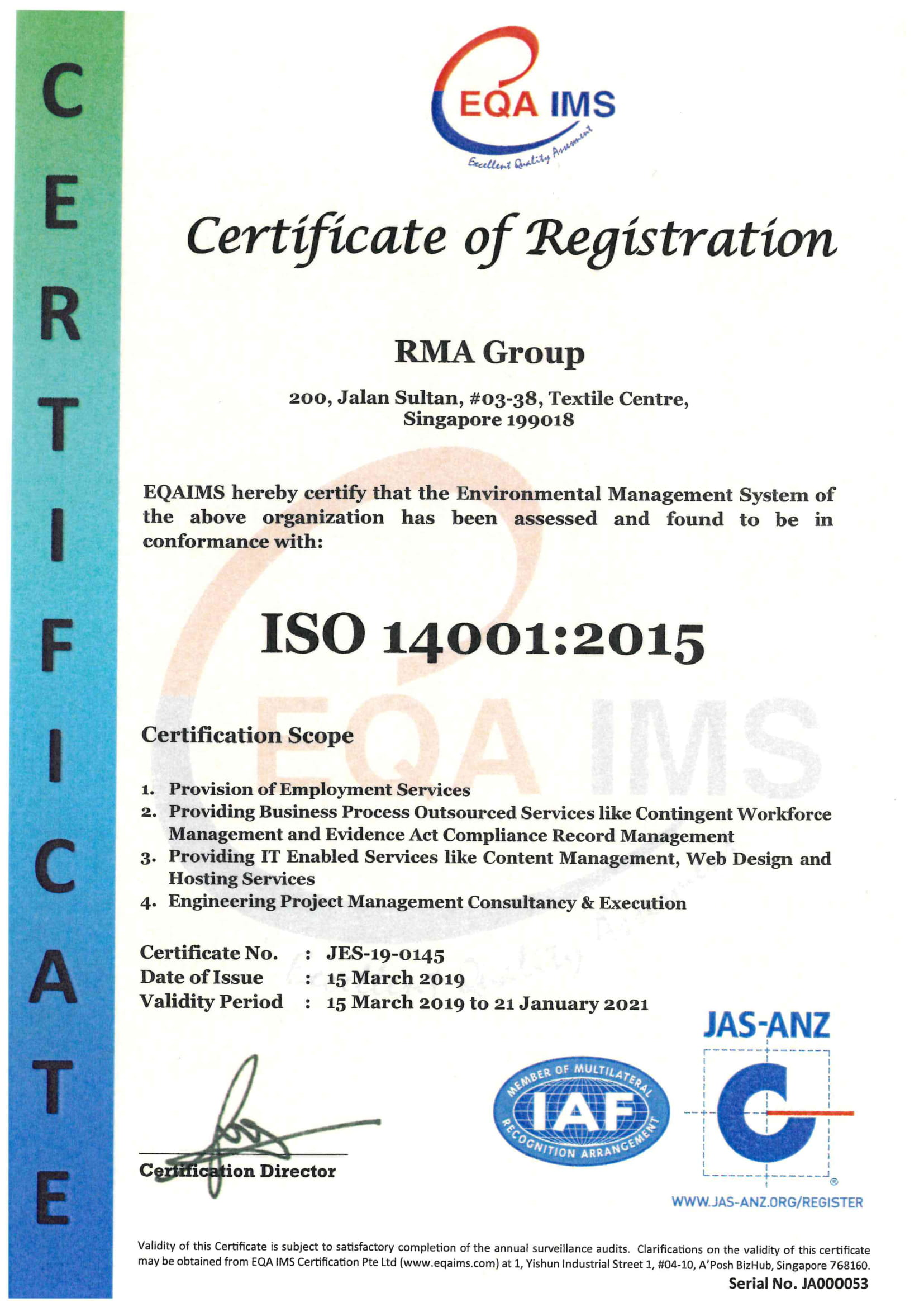 ISO 14001:2015 Certificate for Environmental Management System.