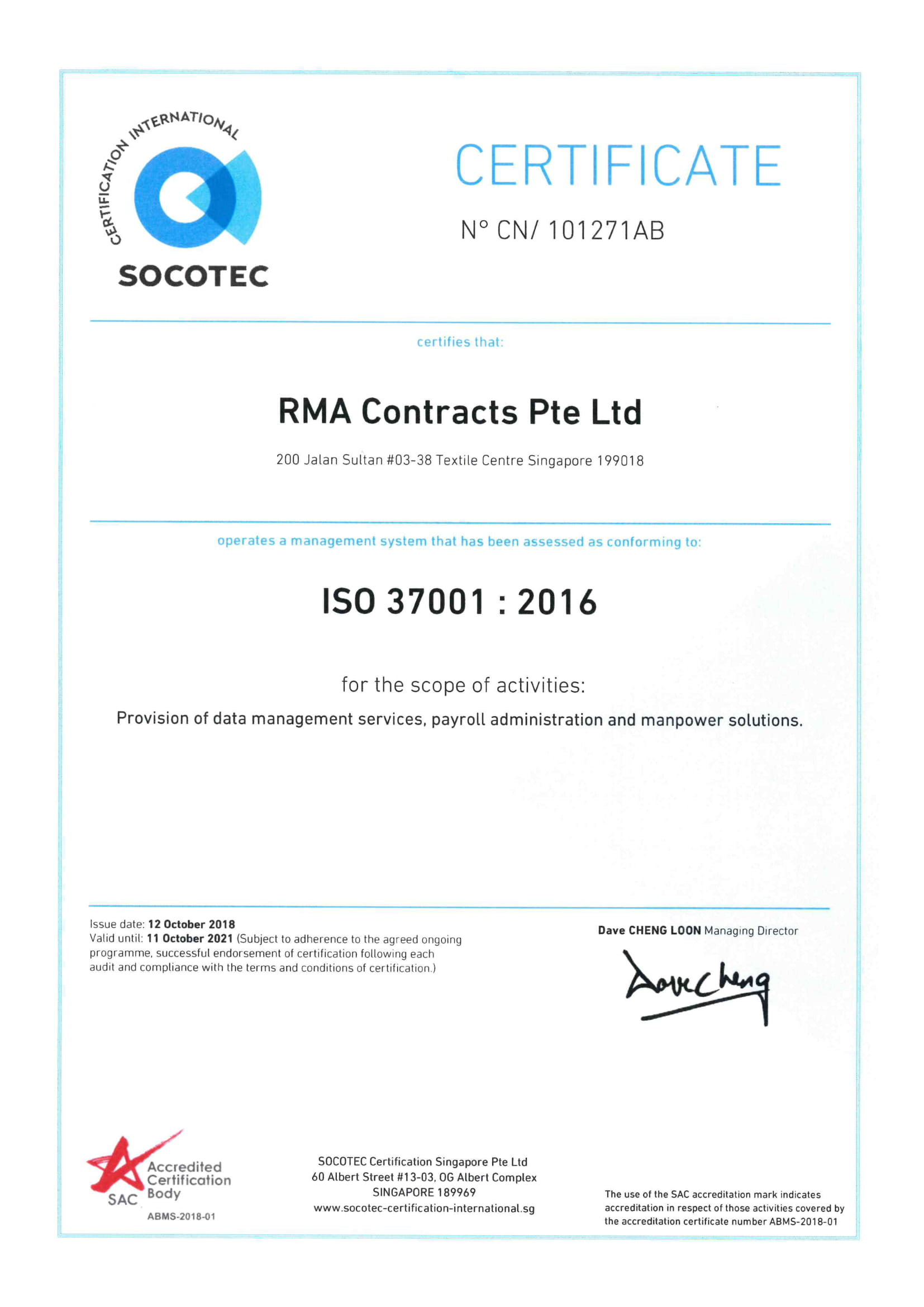 RMA Contracts ISO 37001 2021-1