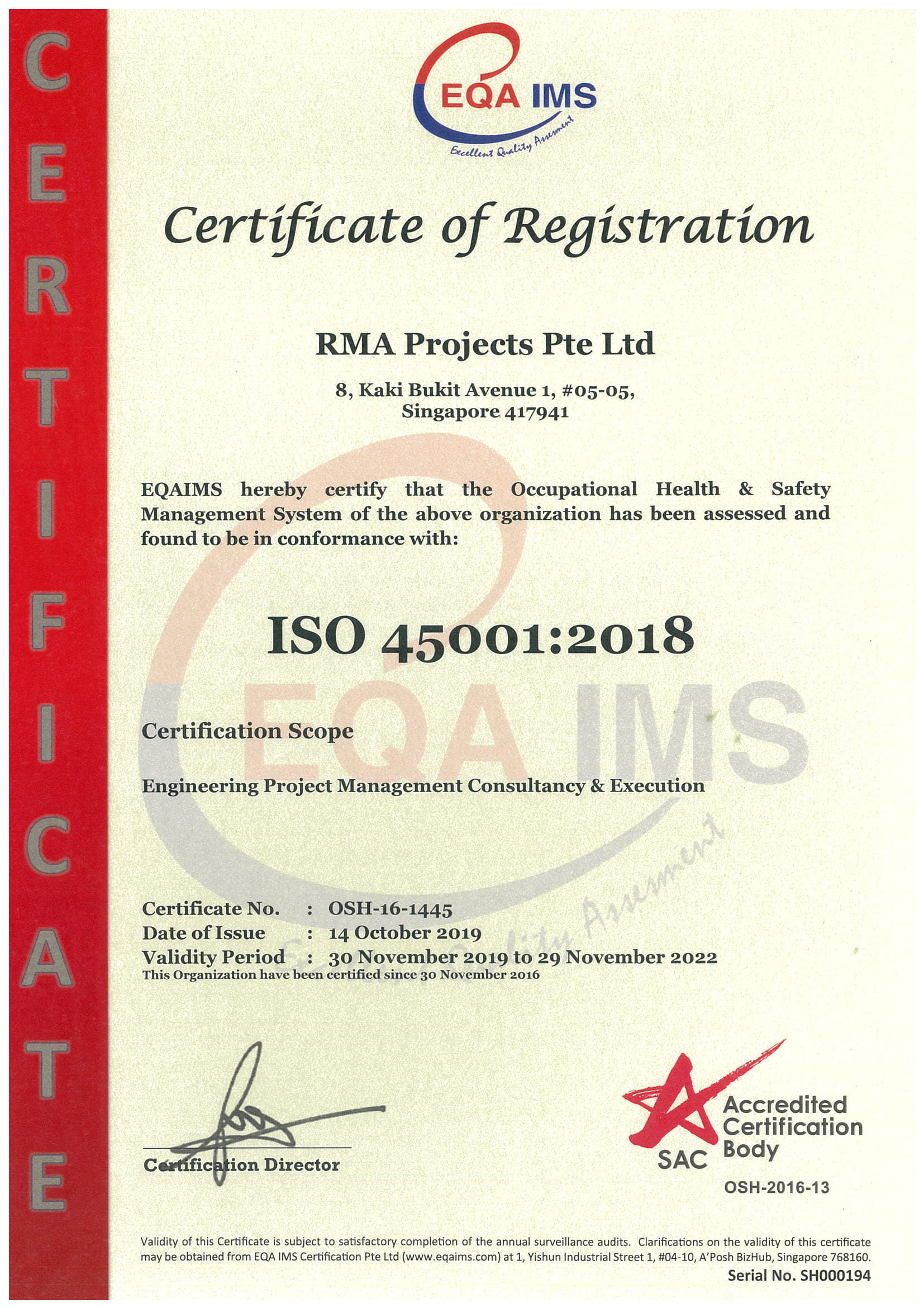 RMA Projects ISO 45001 2018 2022-1